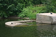 A submerged concrete barge at Lock E13.