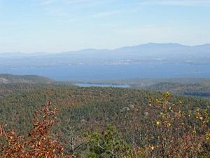 Overlooking Lake Champlain and Burlington, VT. from Poke-O-Moonshine Mt., Adks, NY.
