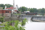 The southern end of the stone dam in Baldwinsville.
