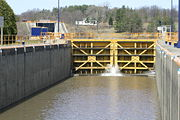 Lock E4 with Lock E5 in the background.  This is part of the Waterford Flight of Locks.
